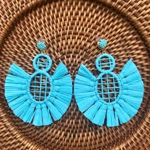 Jewelry - Turquoise Raffia Fan Earrings